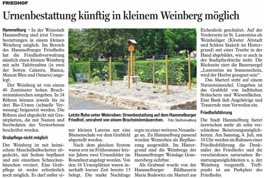 Saale-Zeitung E-Paper - Urnenbestattung künftig in kleinem Weinberg möglich